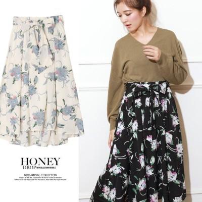 花柄フレアスカート  レディース スカート かわいい 送料無料