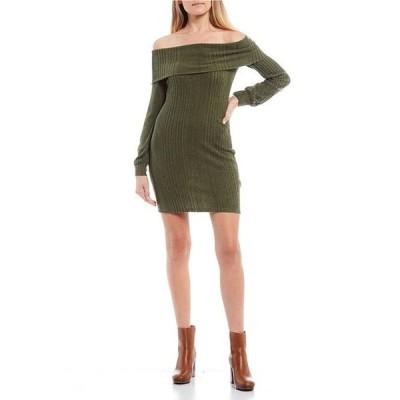 シティヴァイブ レディース ワンピース トップス Off-the-Shoulder Cuffed Neck Rib-Knit Sheath Dress