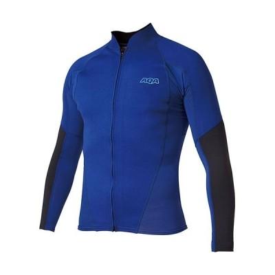 エーキューエー(AQA) メンズ UV ウェットトップ ジップ ロング2 リフレックスブルー×ブラック KW-4614 25 ウェットスーツ 長袖 トップス ジップアップ
