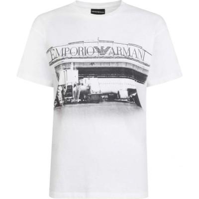 アルマーニ EMPORIO ARMANI レディース Tシャツ ロゴTシャツ トップス Logo T Shirt White