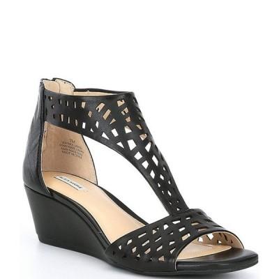 アレックスマリー レディース サンダル シューズ Raynna T-Strap Perforated Leather Wedge Sandals