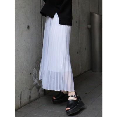 MURUA シャイニープリーツラップスカート(ライトグレー)