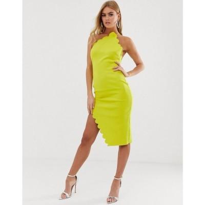 エイソス ASOS DESIGN レディース ワンピース ワンピース・ドレス Scallop halter one shoulder midi dress Yellow
