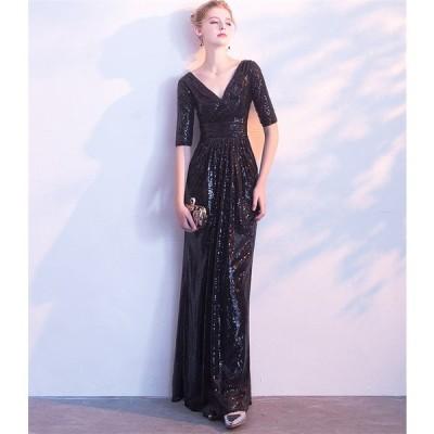 ロングドレス 結婚式 大きいサイズ パーティードレス 20代 30代 40代 パーティドレス ワンピース 二次会ドレス ウェディングドレス お呼ばれ[ブラック]