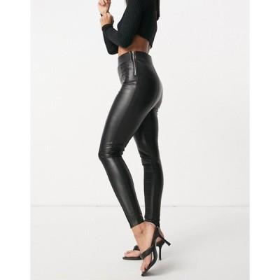 エイソス レディース カジュアルパンツ ボトムス ASOS DESIGN sculpting clean high waist leather look skinny pants
