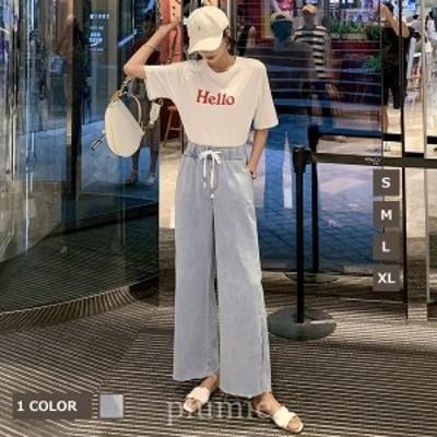 夏新作レディースデニムパンツワイドパンツストレートパンツパンツゆったり脚長涼しいパンツロング丈20代30代