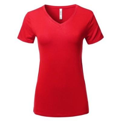 レディース 衣類 トップス A2Y Women's Basic Solid Premium Rayon Short Sleeve V-neck T Shirt Tee Tops Ruby S Tシャツ