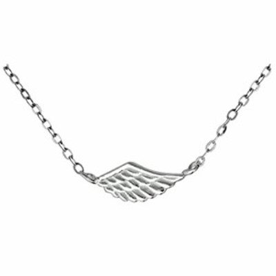 "Kinzie Fashion 17"" .925 Sterling Silver Tiny Angel Wing Sideways Charm Pendant Necklace"