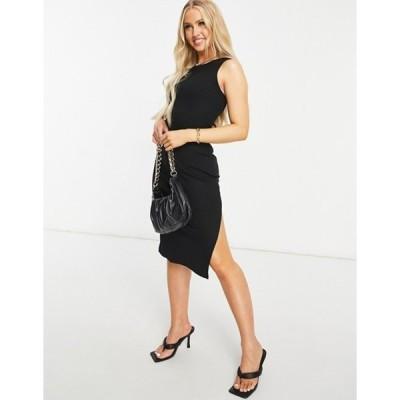 ナーナー レディース ワンピース トップス NaaNaa side slit racer body-conscious midi dress in black