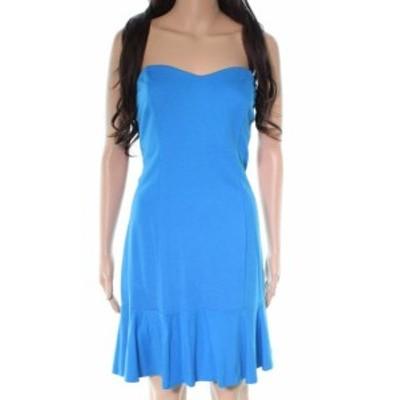 Amanda Uprichard アマンダアップリチャード ファッション ドレス AMANDA UPRICHARD NEW Blue Ruffle Hem Womens Size Large L Sheath Dr