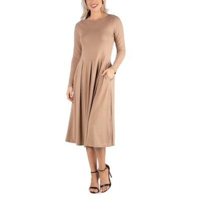 24セブンコンフォート ワンピース トップス レディース Women's Midi Length Fit and Flare Pocket Dress Beige
