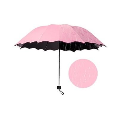 [ロイヤルパイン] UVカット 晴雨兼用 日傘 三つ折り 折り畳み 大判 軽量 濡れるとかわいい花柄が浮き出る傘 ヘアゴム付きセット(ピンク)