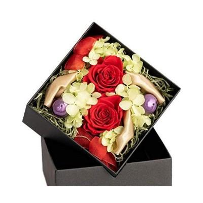FLABEL プリザーブドフラワー ボックスフラワー バラ Antietto(アンティエット) 赤