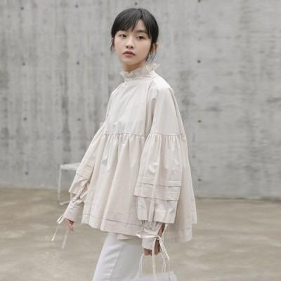 チュニック シャツ ブラウス レディース トップス 長袖 ランタンスリーブ スタンドカラー フリル リボン 韓国ファッション 秋 春 ゆったり