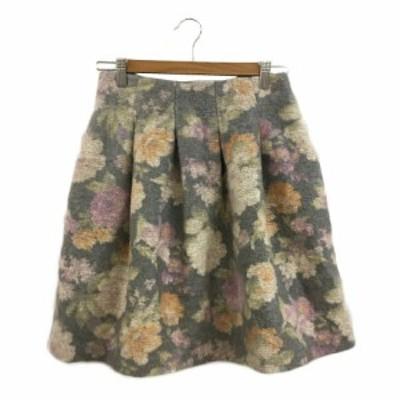 【中古】ストロベリーフィールズ スカート フレア ミニ タック 花柄 アルパカ混 2 緑 ピンク グリーン レディース