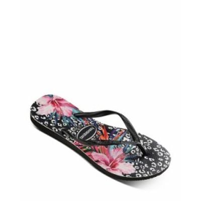 ハワイアナス レディース サンダル シューズ Women's Slim Animal Floral Print Flip-Flops Black