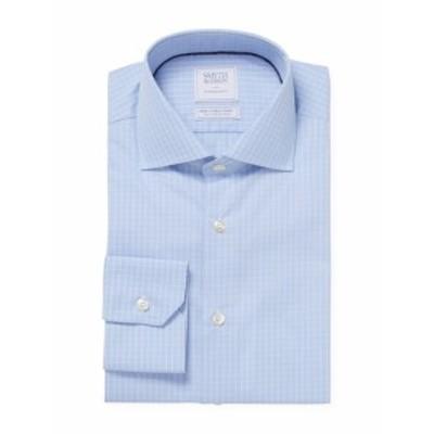 スミス&ギブソン メンズ ドレスシャツ ワイシャツ Formal Checkered Cotton Dress Shirt