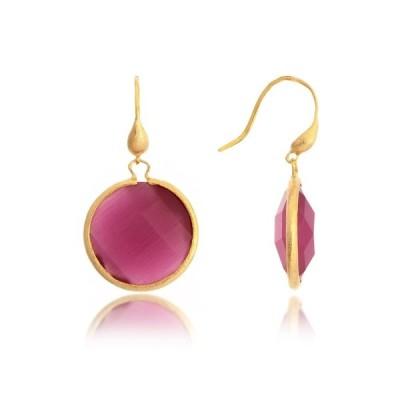 リブカフリードマン レディース ピアス&イヤリング アクセサリー Satin Finish 18K Gold Bezel Set Faceted Pink Crystal Round Drop Earrings PINK
