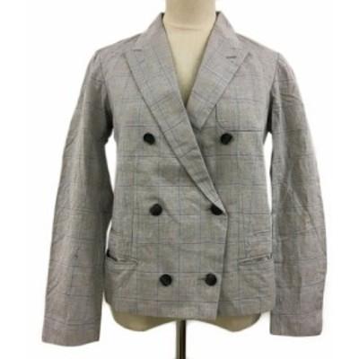 【中古】カリテ ジャケット テーラード ダブル チェック リネン混 長袖 2 グレー 水色 ライトブルー レディース
