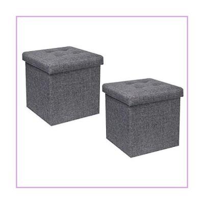 "B FSOBEIIALEO Storage Ottoman Cube, Toy Chest Folding Footrest Stool Seat, Linen Grey 12.6""X12.6""X12.6"" (2 Pack)"