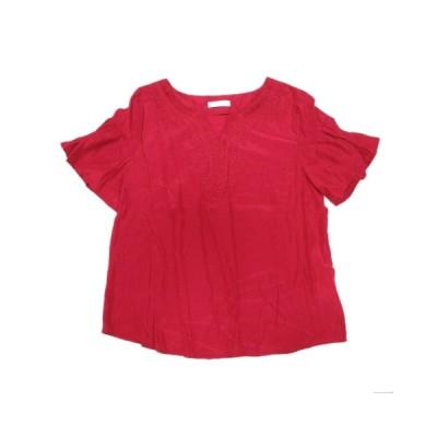 【中古】ドレスキップ DRESKIP シャツ ブラウス カットソー 刺繍 五分袖 M 赤系/16 レディース 【ベクトル 古着】
