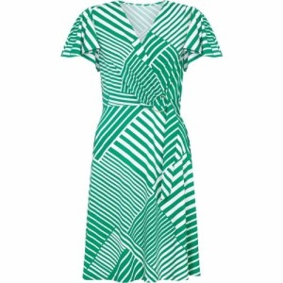 ユミ Yumi レディース ワンピース ラップドレス ワンピース・ドレス Diagonal Stripe Wrap Dress Green