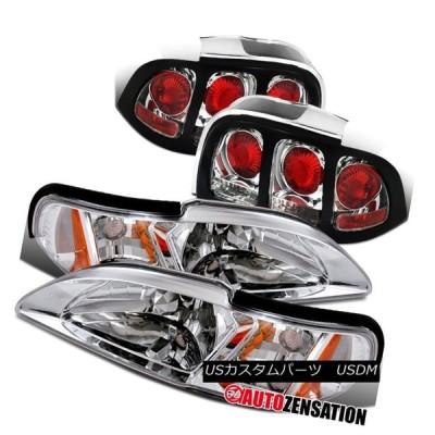 ヘッドライト 94-98コーナーランプを内蔵したムスタングヘッドライト+テールライトリアブレーキペア 94-98 Mustang Headlights