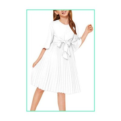 GORLYA Girl's Bell Sleeve Front Bow Tie Casual Elegant Fit and Flare Chiffon Pleated Dress for 4-14T Kids (GOR1032, 6-7Y, White)並行輸入品