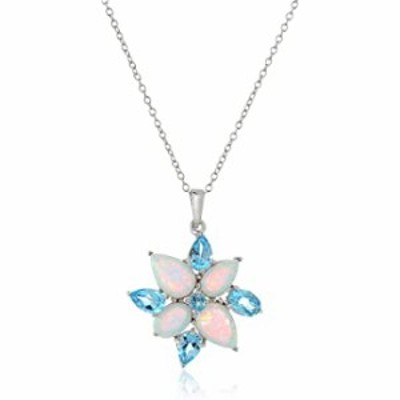 """Rhodium-Plated Sterling Silver Created Opal and Genuine Swiss Blue Topaz 3-prong setting Flower Pendant Necklace, 18"""""""
