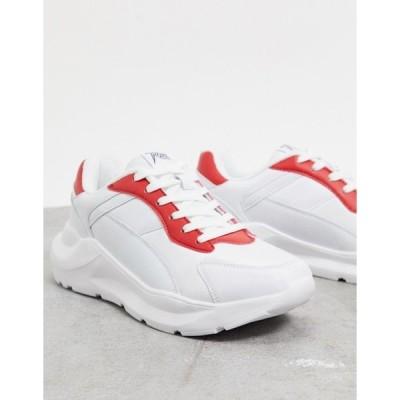 ルールロンドン メンズ スニーカー シューズ Rule London leo chunky sneaker in white and red