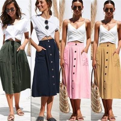 スカート レディース ボトムス ロングスカート ミモレスカート ミモレ丈 無地 ポケット有り ボタン飾り Aライン ゆったり 無地 通年