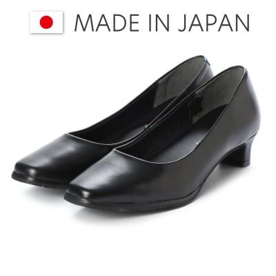 ドンナリスペット donna rispetto 日本製/3.5cmヒール本革ベーシックパンプス (BLACK)