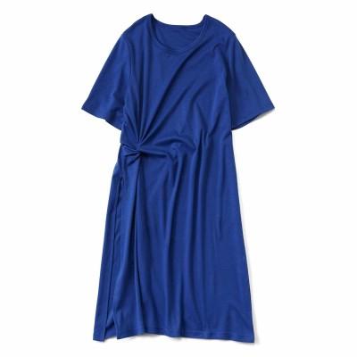 重ね着で今風 スリット入りロングTシャツ〈ブルー〉 フェリシモ FELISSIMO