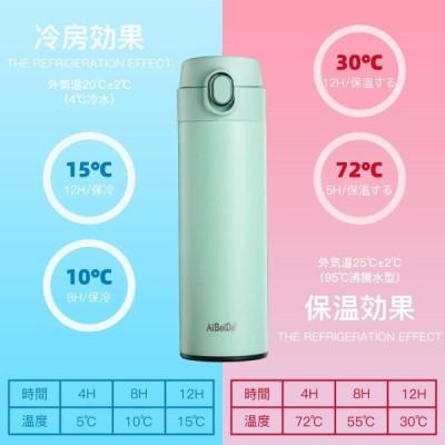 Aibeide 水筒 360ml 真空断熱保温保冷304ステンレスボトル 大容量 軽量 ポータブル 魔法瓶(グリーン)