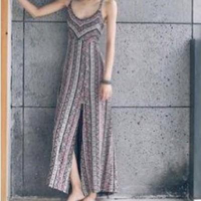 ワンピース ドレス ロング丈 スリット カジュアル リゾート ビーチ セクシー 肌見せ 大人可愛い オシャレ キュート ガーリー