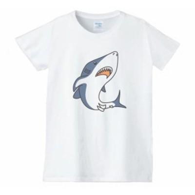 サメ レディース 動物 生き物 Tシャツ 白