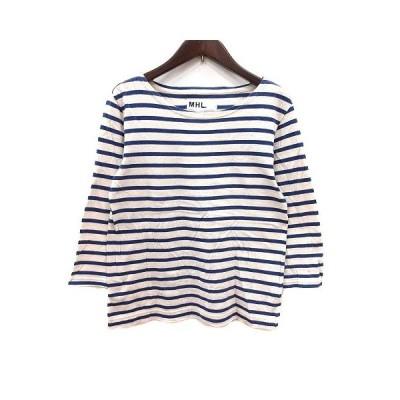 【中古】マーガレットハウエル MARGARET HOWELL Tシャツ カットソー ボーダー 長袖 青 ブルー ベージュ /YK レディース 【ベクトル 古着】