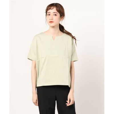 tシャツ Tシャツ SHELTECH シルケットキーネックカットソー