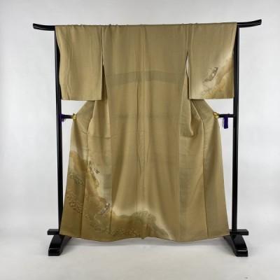 訪問着 秀品 やまと 短冊 組紐 金彩 金糸 ベージュ 袷 身丈161.5cm 裄丈68.5cm L 正絹 中古
