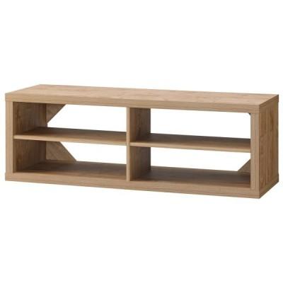 シンプルなデザインで質感のあるローボード キャスター付きで移動も楽々 棚板2枚付き 背面に三角の補強材を使い頑丈な作りです