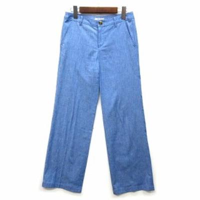 【中古】ボールジー BALLSEY トゥモローランド シャンブレー ストレッチ パンツ ワイド スラックス ブルー 青 36 美品 レディース