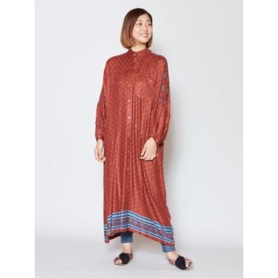 【チャイハネ】モロッコ風プリント バンドカラーロングシャツワンピース