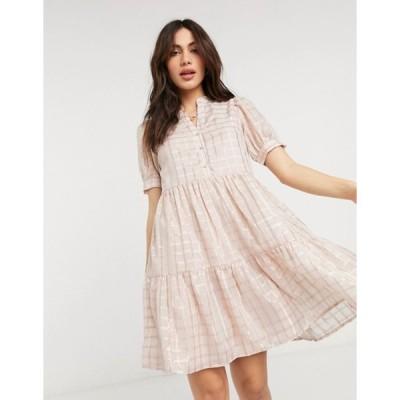 ワイエーエス レディース ワンピース トップス Y.A.S smock mini dress in metallic pink check