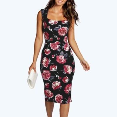 レディース ノースリーブ ワンピース ドレス スクエアネック 膝丈 ミモレ丈 花柄 ブラック S M L XL 送料無料
