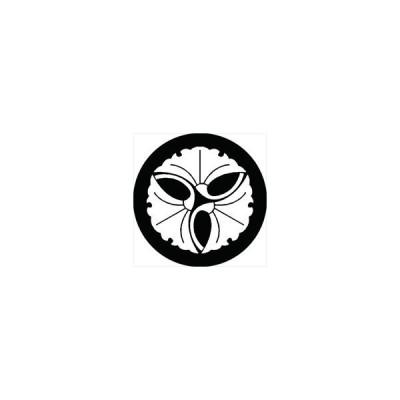 家紋シール 三つ寄せ銀杏紋 直径4cm 丸型 白紋 4枚セット KS44M-1389W