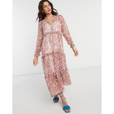 ネオンローズ レディース ワンピース トップス Neon Rose oversized maxi smock dress with tiered skirt in ditsy floral