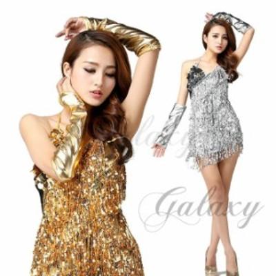 ラテンダンス衣装 ワンピース スパンコール キラキラ 2色 コスチューム 舞台 ステージ衣装 hyl07
