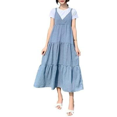 2WAY Tシャツ付きキャミワンピ ミモレ丈 きれいめ セットアップ デニム ティアード ライトブルー(ライトブルー, M)