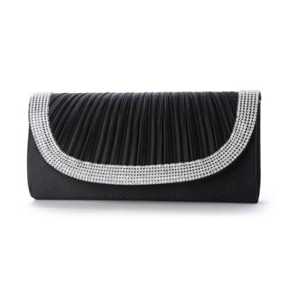 スタイルブロック STYLEBLOCK ラインストーン装飾プリーツサテンパーティークラッチバッグ (ブラック)