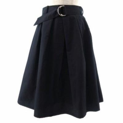 【中古】ナチュラルビューティーベーシック NATURAL BEAUTY BASIC スカート ギャザースカート ミディ丈 紺 M
